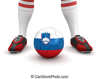 Man, soccer ball with Slovene flag - Man and soccer ball...