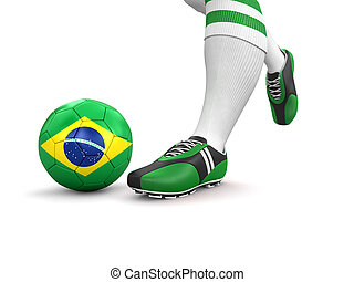 Man, ball with Brazilian flag - Man and soccer ball with...