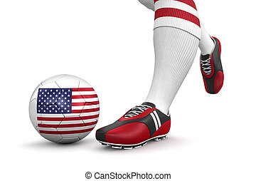 Man and soccer ball with USA flag - Man and soccer ball with...