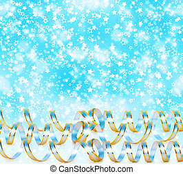 Greeting card with ribbons on a beautiful background with...