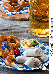 Bavarian veal sausage with mustard - Blue-white paper plate...