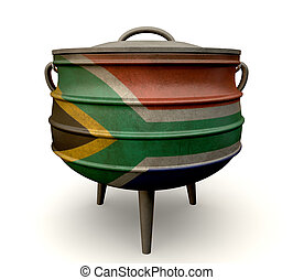 South African Potjie Pot Painted Flag - A traditional cast...