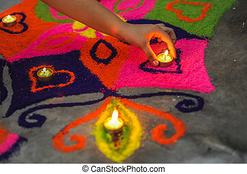 Un, mano, poniendo, lámpara, hermoso, colorido,...