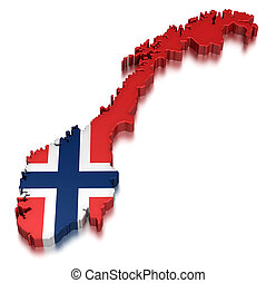 Norway (clipping path included) - Map of Norway. 3d render...