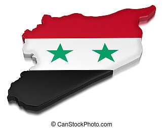 Syria (clipping path included) - Map of Syria. 3d render...