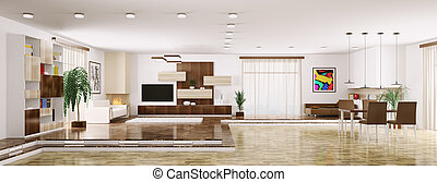 Interior of modern apartment panorama 3d render - Interior...