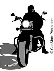 Big bike - Vector drawing silhouettes of motorcyclists...
