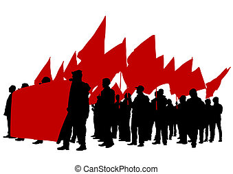 Red flags - Vector drawing of a group of people with flags