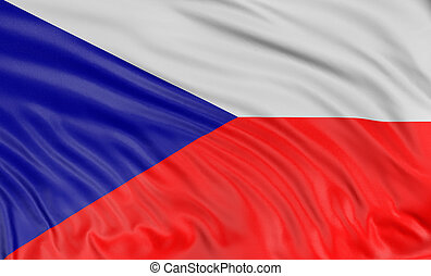 3D Czech flag with fabric surface texture. White background....