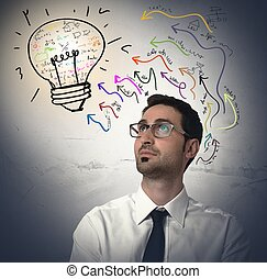 Idea - Businessman thinking about a new brilliant idea