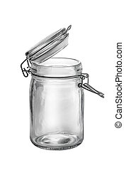 empty glass jar isolated on white.