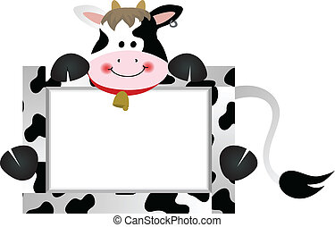 Cow with Bank Label - Scalable vectorial image representing...