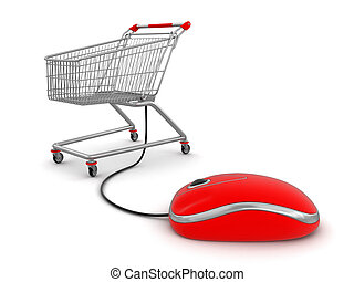 Shopping Cart with computer mouse Image with clipping path