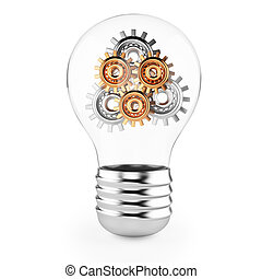 lightbulb with gears isolated on white background 3d render