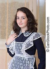 girl in school uniform - Portrait of a teenage girl in...