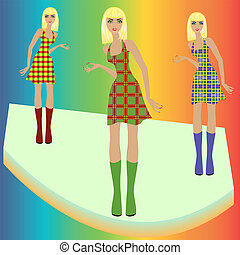 Fashion blond models posing on podium in checkered dresses -...