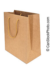 paper shopping bag - a brown shopping bag with handles on a...