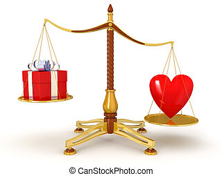 Justice Balance with heart and gift. Image with clipping...