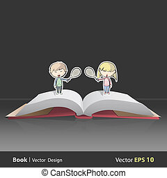 Children playing tennis on Pop Up book. Vector illustration.