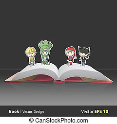Kids with costumes on Pop Up book. Vector illustration.