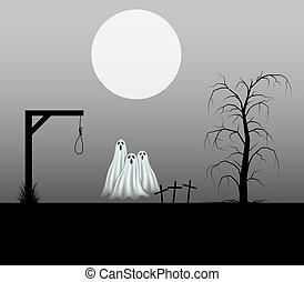 Ghosts standing in the cemetery