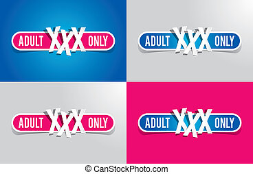 Adult Only Restriction Buttons vector illustration