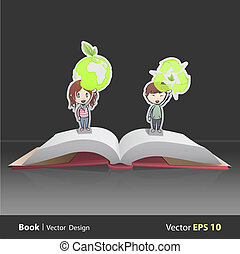Kids holding ecological icons inside pop-up book. Vector...