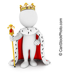 3d white people king, isolated white background, 3d image