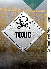 Grungy Toxic Label - Grungy Toxic sticker label attached on...