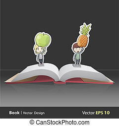 Kids holding fruits inside pop-up book Vector design