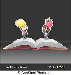 Kids holding fruits inside pop-up book. Vector design