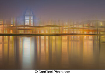 Blurred abstract city skyline colorful background - Abstract...