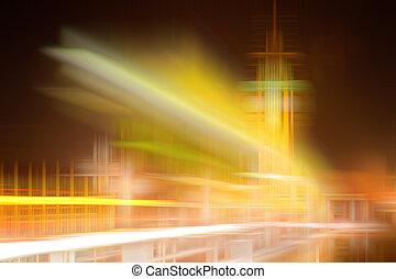 Obscurecido, cidade, Skyline, abstratos, coloridos, fundo