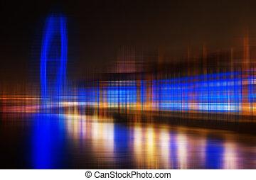 Obscurecido, abstratos, cidade, Skyline, coloridos, fundo
