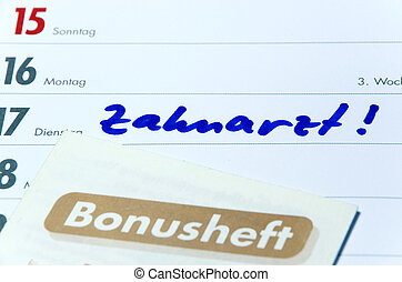 Zahnarzt Bonusheft - German dentist booklet and timer with...
