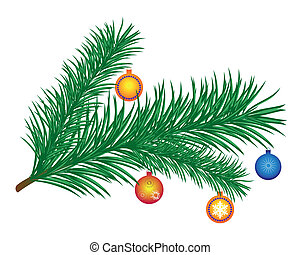 pine branch with New Years toys on a white background