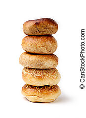 Stack of Bagel - Five Bagels on white background