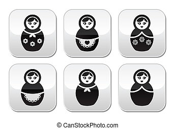 Russian doll, retro matrioshka - Russian girl toy icons set...