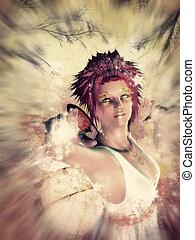 Autumn fairy spirit - Beautiful fairy on colorful grunge...