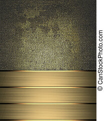 Grunge metal background with gold ribbon the edge - Design...