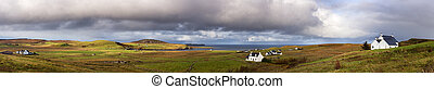 Isle of Skye pano - Panorama of the countryside and cottages...