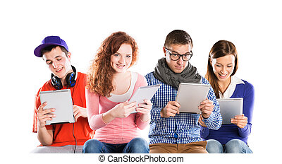 Young people with tablets - Group of young people with pc...
