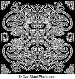 Traditional Ornamental Floral Paisley Bandana - Hand Draw...