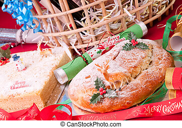 Christmas stollen and coconut cake close up - Christmas...
