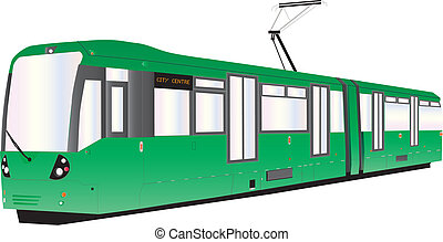 Tram - A Modern Green Tram or Trolley Car isolated on white