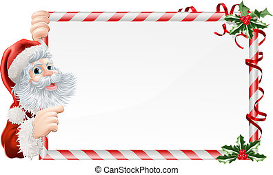 Santa Cartoon Xmas Sign - Santa cartoon Xmas sign graphic...
