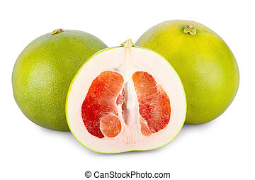 Two whole and one halved Pomelo Fruits isolated on white...