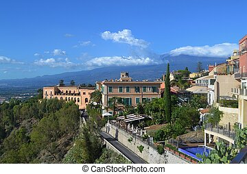 Taormina Sicily and Mt. Etna - Resorts and fancy hotels of...
