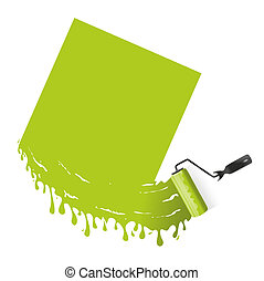 Paint roller - illustration of green paint with paint roller...