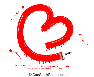 Paint roller - red paint forming a heart using a paint...